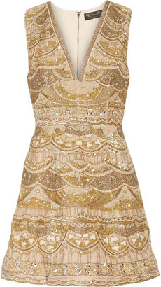 Alice + Olivia Alice Olivia - Patty Embellished Silk-chiffon Mini Dress - Gold $1,510 thestylecure.com