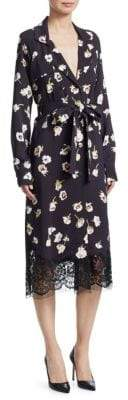 Lela Rose Women's Floral-Print Double Breasted Wrap Dress - Midnight - Size 8