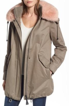 Women's Derek Lam 10 Crosby Parka With Genuine Fox Fur Trim $525 thestylecure.com