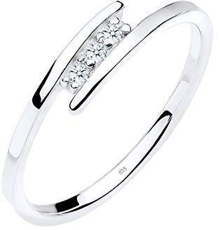 Diamore Women's 925 Sterling Silver 0.06 ct Diamond Wrap Ring, Size N