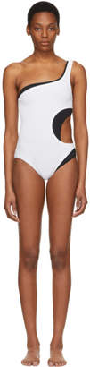 Proenza Schouler White and Black Layered One Shoulder Swimsuit