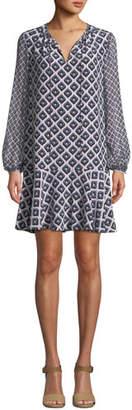 Diane von Furstenberg Printed Blouson-Sleeve Keyhole Flounce Dress