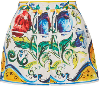 Dolce & Gabbana - Printed Cotton-poplin Shorts - Yellow $775 thestylecure.com