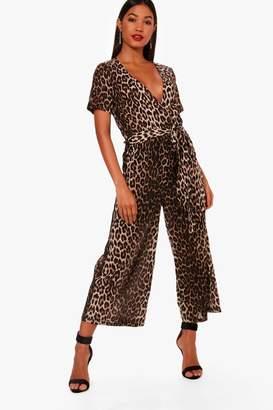 boohoo Leopard Print Wrap Front Culotte Jumpsuit