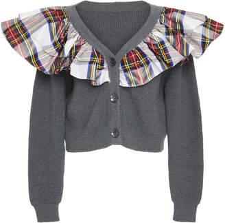Isa Arfen Tartan Ruffled Rib-Knit Cardigan