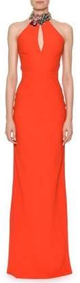 Alexander McQueen Sleeveless Jeweled Halter Column Satin Back Crepe Evening Gown