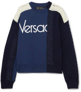 Versace Paneled Cable-knit Wool And Cotton-jersey Sweater - Navy