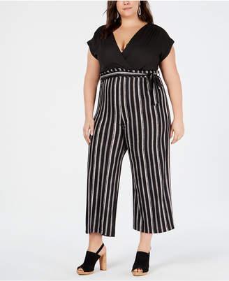 d9ba364e1dded Solid   Striped Monteau Trendy Plus Size Jumpsuit
