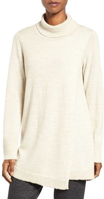 Women's Eileen Fisher Lush Wool Blend Front Overlay Turtleneck $398 thestylecure.com