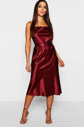 boohoo Satin Belted Cowl Neck Midi Dress