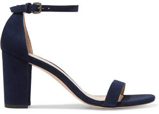 Stuart Weitzman Nearly Nude Suede Sandals - Blue