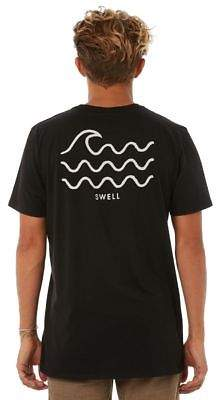Swell New Men's Rising Mens Tee Crew Neck Cotton Black