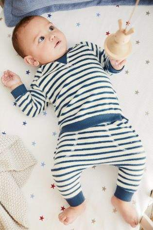 Boys Navy/White Stripe Sweater And Joggers Set (0mths-2yrs) - Blue