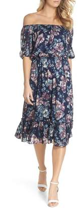 Adrianna Papell Floral Burnout Off the Shoulder Blouson Dress