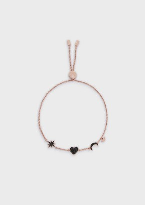 Emporio Armani Women'S Rose Gold-Tone Sterling Silver Station Bracelet