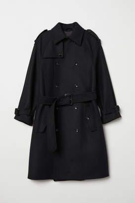 H&M Double-breasted Wool Coat - Black