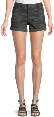 Sanctuary Faded Camouflage Denim Shorts, Black