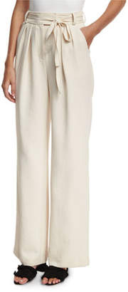 Rebecca Taylor High-Waist Wide-Leg Belted Crepe Pants