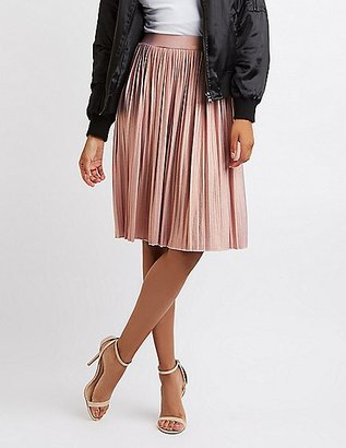 Shimmer Pleated Midi Skirt $24.99 thestylecure.com