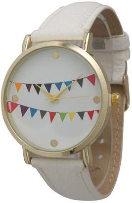 OLIVIA PRATT Olivia Pratt Womens Multi-Colored Flags Dial White Leather Watch 14226White