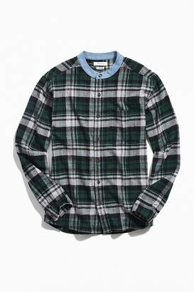 Urban Outfitters Band Collar Flannel Button-Down Shirt