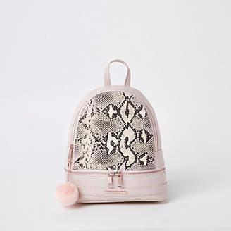 d2f98c84f093 River Island Girls pink snake print backpack