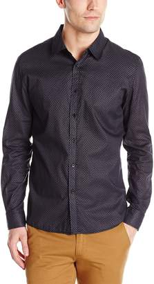 Sovereign Code Men's Lawson - Allover Chain Printed Long Sleeve Button Up, Black/Navy