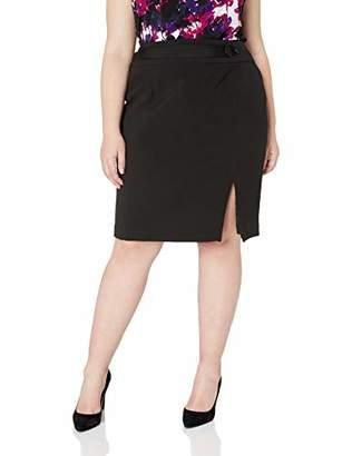 Nine West Women's Size Plus ASSYMMETRICAL Crepe Skirt with Belt Detail