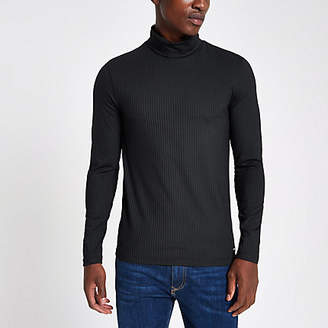 River Island Navy rib roll neck muscle fit top