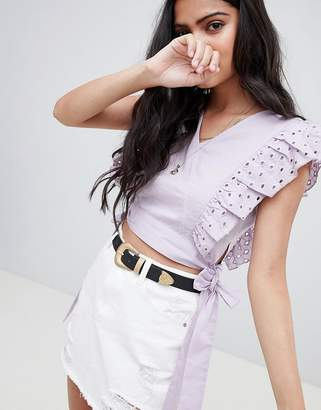 Glamorous Crop Top With Broderie Frill And Waist Ties
