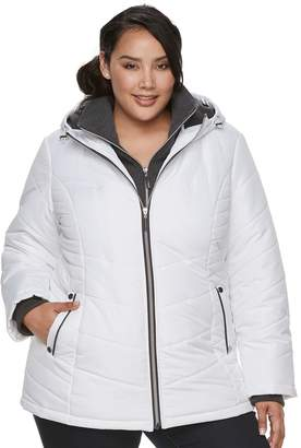 Details Plus Size Hooded Bib Inset Quilted Jacket