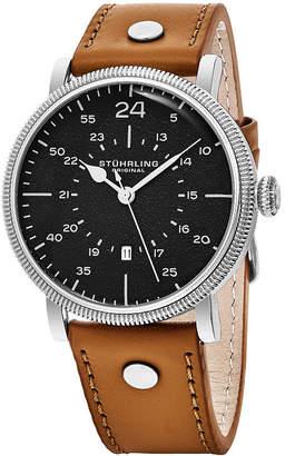 Stuhrling Original Mens Brown Strap Watch-Sp16313
