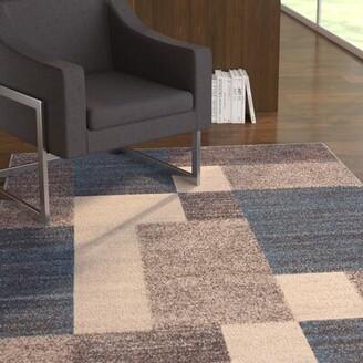 Wade Logan Brighouse Boxes Design Non-Slip Blue/Brown Area Rug