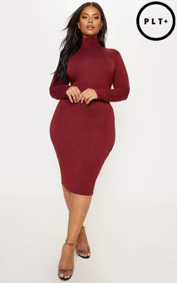 PrettyLittleThing Plus Burgundy High Neck Midi Dress