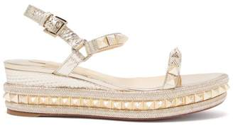 Christian Louboutin Pyraclou 60 Metallic Leather Flatform Sandals - Womens - Gold