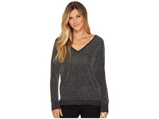 NYDJ Metallic Double V-Neck Sweater Women's Sweater