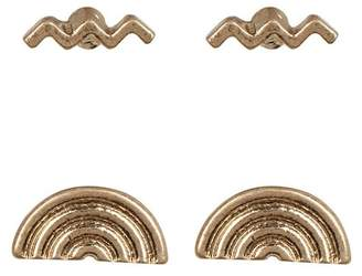 Melrose and Market Rainbow & Squiggle Stud Earrings - Set of 2