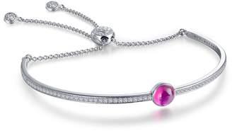 Lafonn Platinum Plated Sterling Silver Bezel Set Created Ruby July Birthstone Bracelet