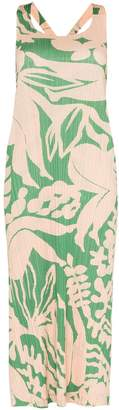 Pleats Please Issey Miyake Swimming-print plissé midi dress