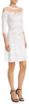 Alberta Ferretti Illusion Embroidered Sheath Dress