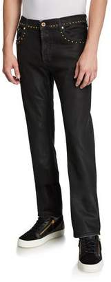 Versace Men's Slim Coated Jeans with Studs