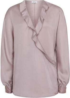 Reiss Anaya - Bead Detail Wrap-front Blouse in Ash Pink