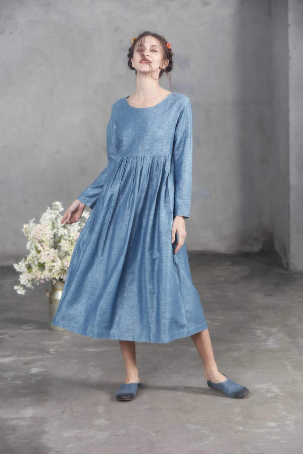 Etsy Cerulean Blue Linen Dress, Empired Waist Dress, Flax Dress, Maxi Dress, Longsleeved Linen Dress, Loo