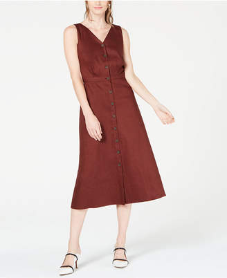 Alfani V-Neck Sleeveless Button-Down Dress