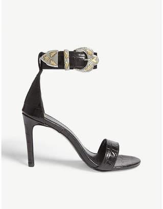 Maje Croc-embossed leather heeled sandals