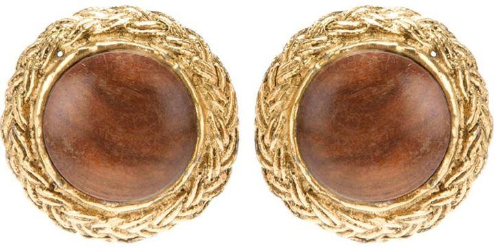Chanel wooden centre clip on earrings