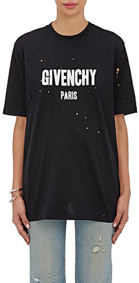 Givenchy Women's Logo-Print Cotton Distressed T-Shirt $740 thestylecure.com