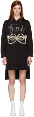 Fendi Black Pearls Bow Hoodie Dress