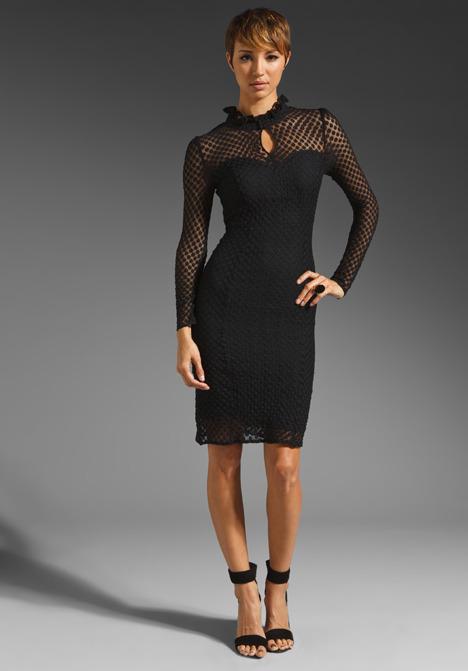 ALICE by Temperley Davis Long Sleeve Dress in Black/Midnight