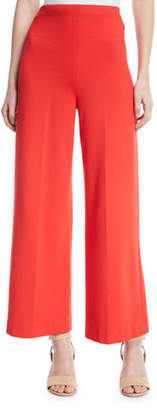 Rosetta Getty High-Rise Wide-Leg Interlock Jersey Cropped Trousers